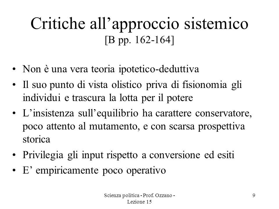 Critiche all'approccio sistemico [B pp. 162-164]